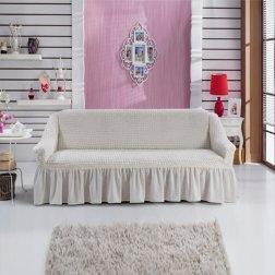 Чехол на двухместный диван на резинке Bulsan с юбкой - Кремовый