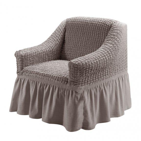 Чехол на кресло универсальный на резинке с юбкой Karteks Турция - Какао