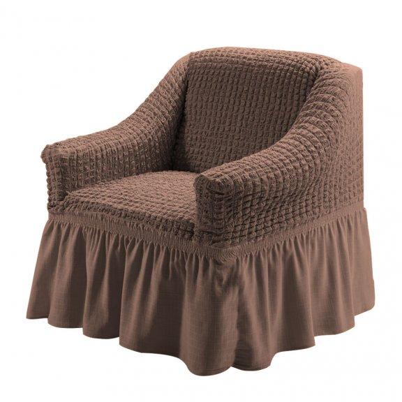 Чехол на кресло универсальный на резинке с юбкой Karteks Турция - Кофейный