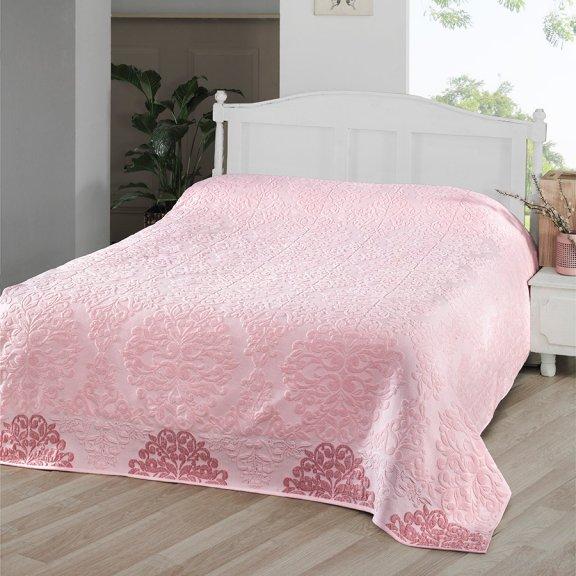 Простынь махровая 200х220 Karna жаккард оттоман Розовая