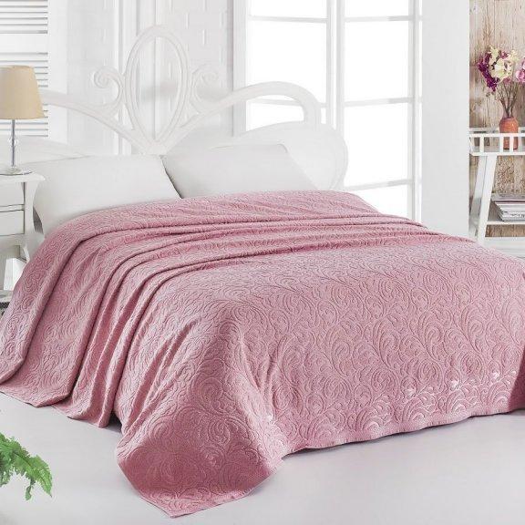 Махровая простынь для укрывания 160х220 Розовая Esra - Турция Karna