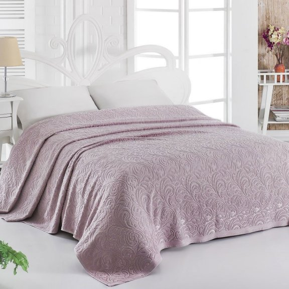 Махровая простынь для укрывания 160х220 Темно-розовая Esra - Турция Karna