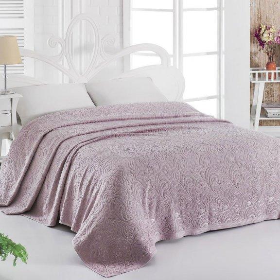 Махровая простынь для укрывания 200х220 Темно-розовая Esra - Турция Карна