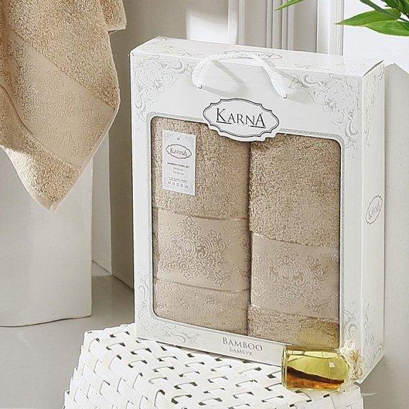 Полотенца из бамбука в коробке Karna Pandora - Кофейные