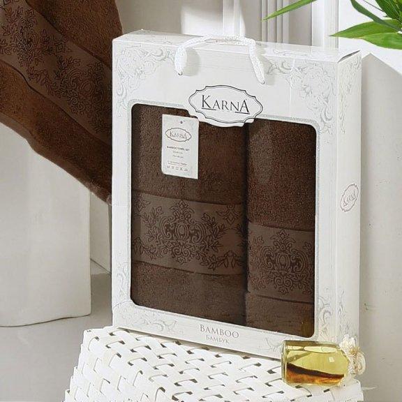 Полотенца из бамбука в коробке Karna Pandora - Темно-коричневые