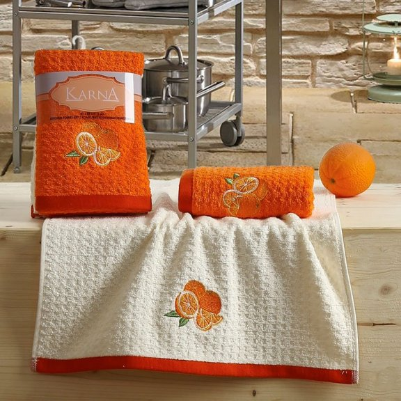 Полотенца махровые Lemon оранжевые