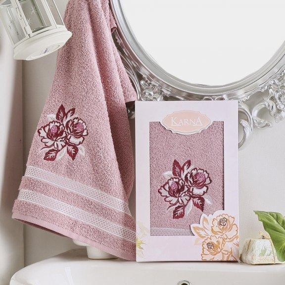 Полотенце Karna Dita - Сиреневое махровое подарочное