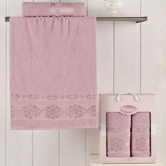 Комплект махровых полотенец Karna Rebeka 50x90 - 70х140 - Светло-розовые