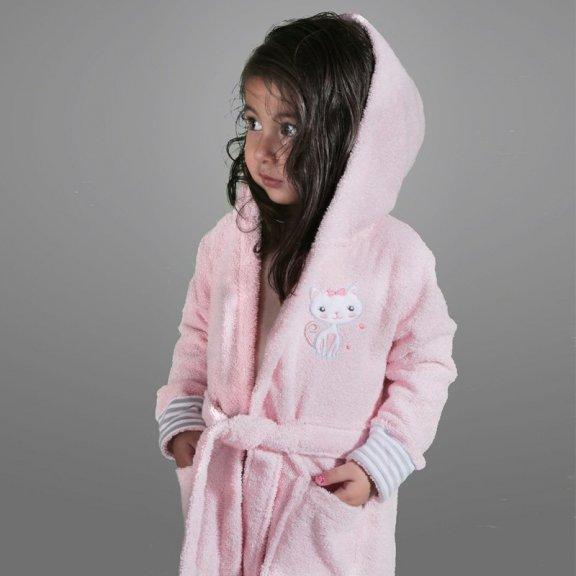 Teeny - розовый детский махровый халат с капюшоном 2-3 года