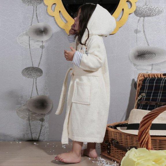 Teeny - экрю детский махровый халат с капюшоном 2-3 года