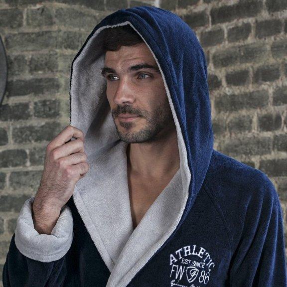 Атлетик - Спортивный бамбуковый мужской халат синий