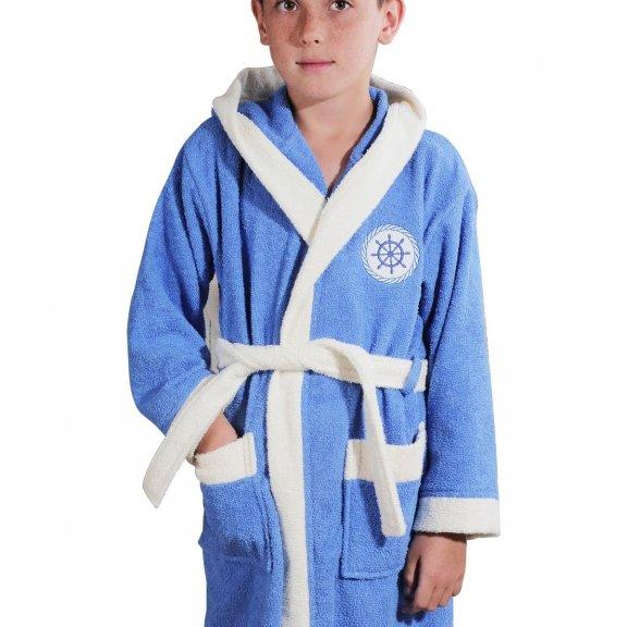 Халат махровый детский SILVER с капюшоном голубой 10-11 Лет