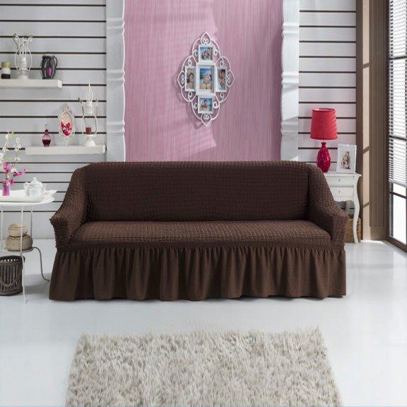 Чехол на трехместный диван универсальный на резинке с юбкой Турция - Коричневый