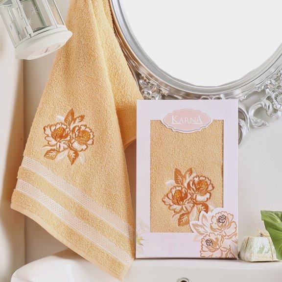 Полотенце Karna Dita - Абрикосовое махровое подарочное