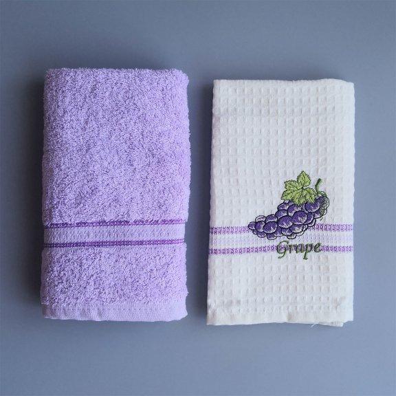 Кухонные полотенце с вышивкой Nilteks Fresh 40x60 - Виноград