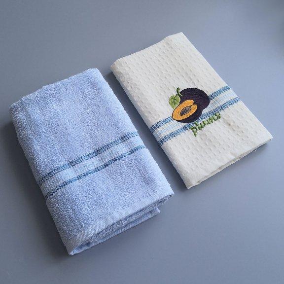 Кухонные полотенце с вышивкой Nilteks Fresh 40x60 - Слива