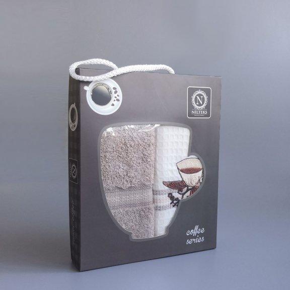 Кухонные полотенце с вышивкой Nilteks Fresh 40x60 - Кофе
