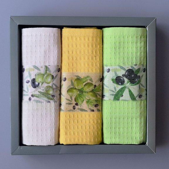 Кухонные полотенца вафельные Nilteks 40x60 - Оливки
