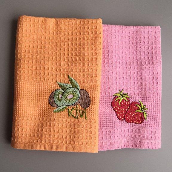 Кухонные полотенца вафельные Vianna 45x65 - Киви-клубника
