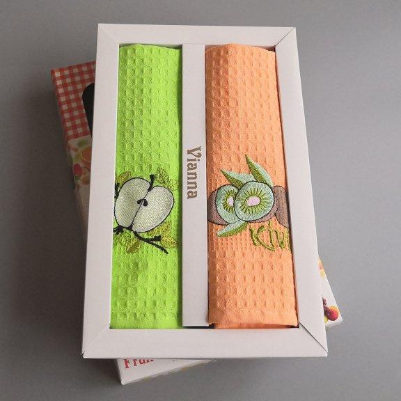 Кухонные полотенца вафельные Vianna 45x65 - Яблоко-киви