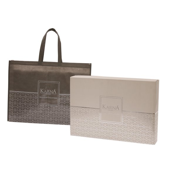 Постельное белье Karna сатин печатный PETRA Eвро