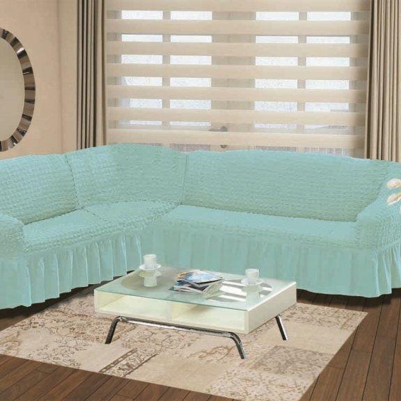 Чехол на диван угловой левосторонний - Бирюзовый