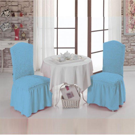 Чехлы на стулья с оборкой буклированные комплект Турция - Бирюзовые