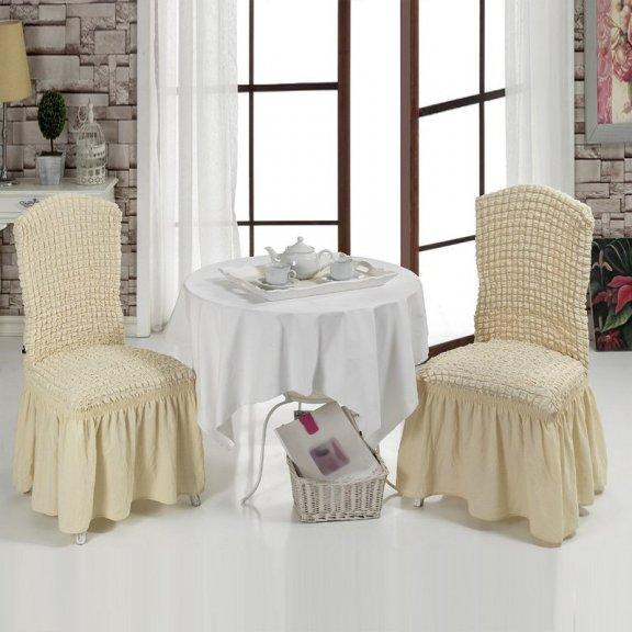 Чехлы на стулья с оборкой буклированные комплект Турция - Натурал