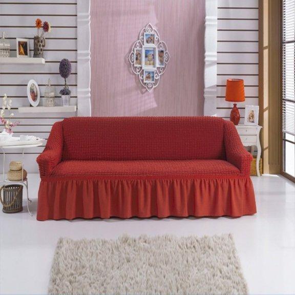 Чехол на двухместный диван на резинке Bulsan с юбкой - Кирпичный