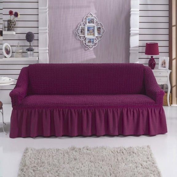 Чехол на двухместный диван на резинке Bulsan с юбкой - Лавандовый