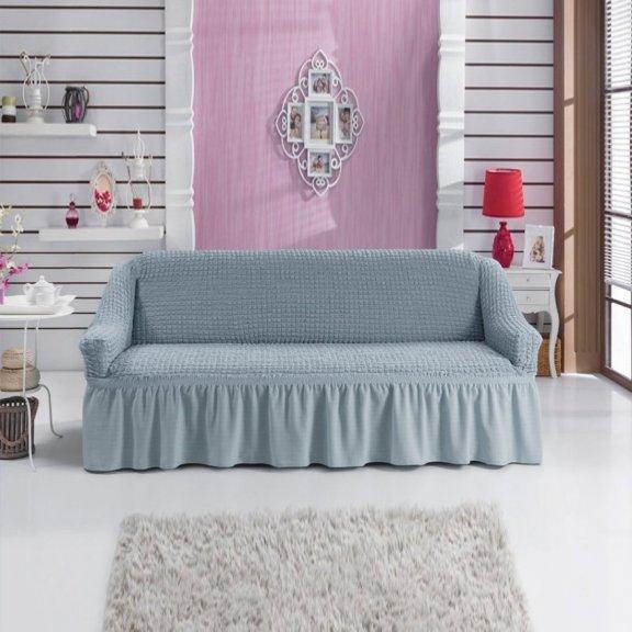 Чехол на двухместный диван на резинке Bulsan с юбкой - Серый